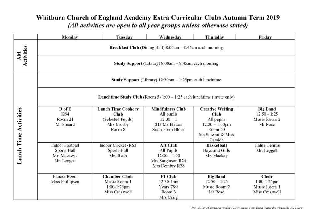 2019 Autumn Extra Curricular Timetable